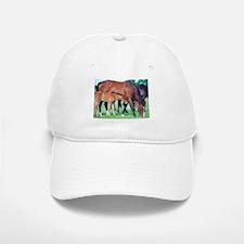 Mares and foals grazing Baseball Baseball Cap