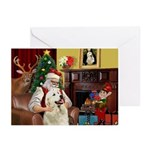 Santa's Great Pyrenees Greeting Cards (Pk of 20)