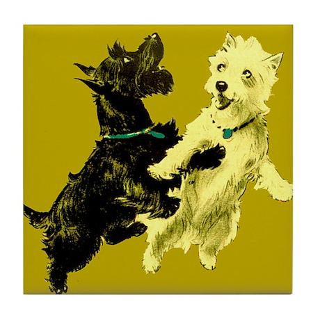 Black & White Terriers Tile Coaster