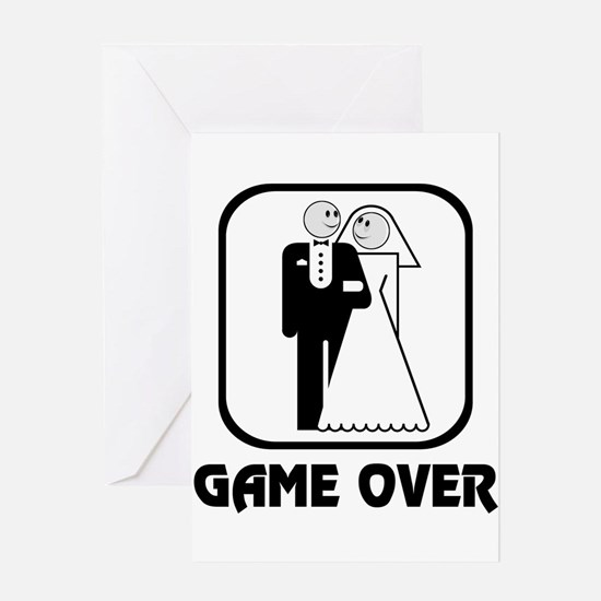 Smiling Bride & Groom Game Over Greeting Card