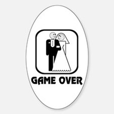 Smiling Bride & Groom Game Over Oval Decal