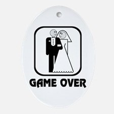 Smiling Bride & Groom Game Over Oval Ornament