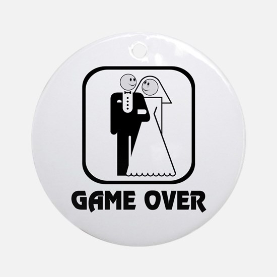Smiling Bride & Groom Game Over Ornament (Round)