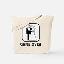 Smiling Bride & Groom Game Over Tote Bag