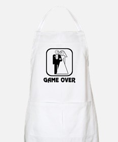 Smiling Bride & Groom Game Over BBQ Apron