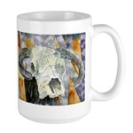 cow skull skulls cowboy weste Large Mug