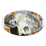 cow skull skulls cowboy weste Oval Sticker (50 pk)