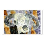 cow skull skulls cowboy weste Rectangle Sticker
