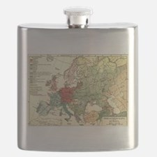 Vintage Linguistic Map of Europe (1907) Flask
