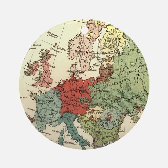 Vintage Linguistic Map of Europe (1 Round Ornament