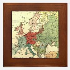 Vintage Linguistic Map of Europe (1907 Framed Tile
