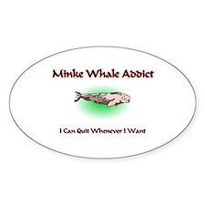 Minke Whale Addict Oval Decal
