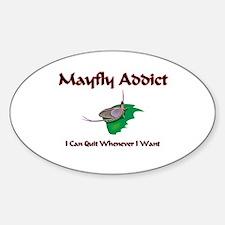Mayfly Addict Oval Decal
