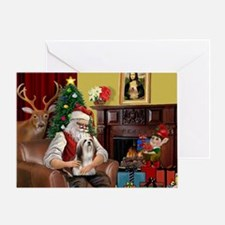 Santa's Lhasa Apso Greeting Card