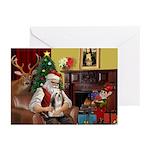 Santa's Lhasa Apso Greeting Cards (Pk of 20)