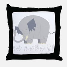 ASL Elephant Throw Pillow