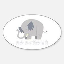 ASL Elephant Oval Decal