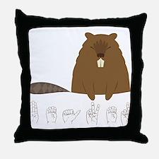 ASL Beaver Throw Pillow