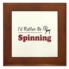 Rather Be Spinning Framed Tile