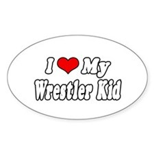 """""""I Love My Wrestling Kid"""" Oval Decal"""