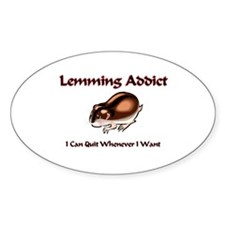 Lemming Addict Oval Decal