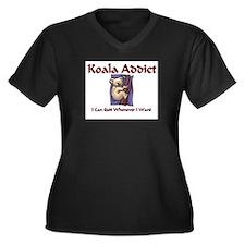 Koala Addict Women's Plus Size V-Neck Dark T-Shirt