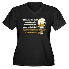 Half Empty Beer Women's Plus Size V-Neck Dark T-Sh
