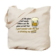 Half Empty Beer Tote Bag