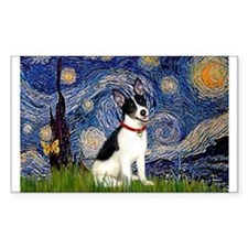 Starry Night & Rat Terrier Rectangle Decal