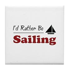 Rather Be Sailing Tile Coaster