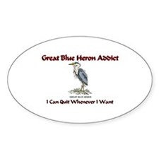 Great Blue Heron Addict Oval Decal