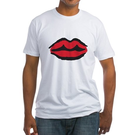 Kissable Red Lips, Fitted T-Shirt