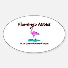 Flamingo Addict Oval Decal