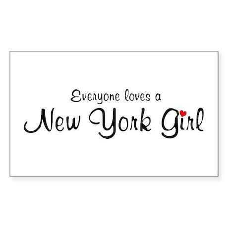 Everyone Loves New York Girl Rectangle Sticker