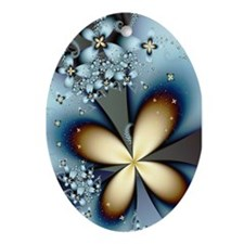 """Blue Gold 4"" Fractal Art Ornament (Oval"