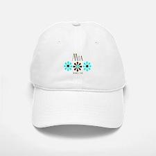 Mia - Blue/Brown Flowers Baseball Baseball Cap