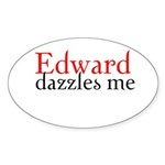 Edward Dazzles Me Oval Sticker (50 pk)