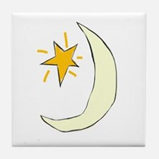 Sweet Dreams Moon Graphic, Tile Coaster
