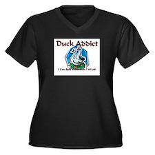 Duck Addict Women's Plus Size V-Neck Dark T-Shirt