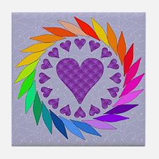Rainbow Love Hearts Tile Coaster
