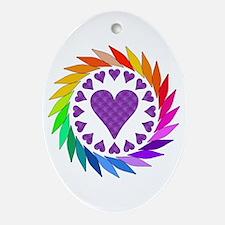 Rainbow Love Hearts Oval Ornament