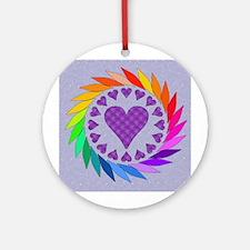 Rainbow Love Hearts Ornament (Round)