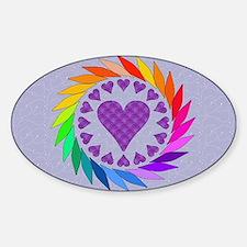 Rainbow Love Hearts Oval Decal