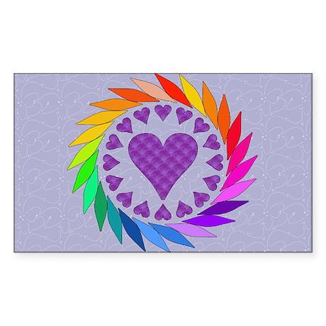 Rainbow Love Hearts Rectangle Sticker