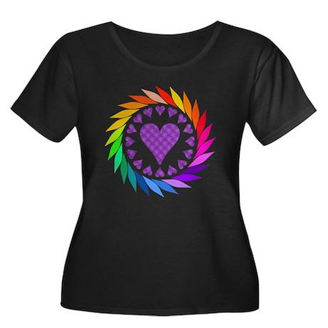 Rainbow Love Hearts Women's Plus Size Scoop Neck D