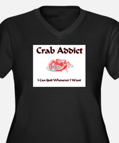 Crab Addict Women's Plus Size V-Neck Dark T-Shirt
