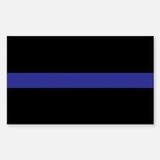 Thin Blue Line Rectangle Sticker 10 pk)