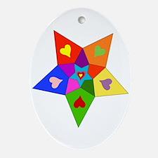 Rainbow Hearts Star Oval Ornament