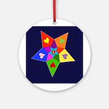 Rainbow Hearts Star Ornament (Round)
