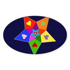 Rainbow Hearts Star Oval Sticker (10 pk)